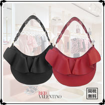 RED VALENTINO Plain Leather Party Style Elegant Style Handbags