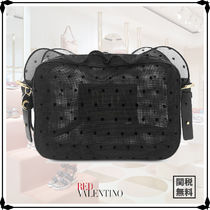 RED VALENTINO 2WAY Plain Leather Elegant Style Shoulder Bags