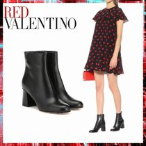 RED VALENTINO Round Toe Casual Style Plain Leather Block Heels