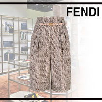 FENDI Printed Pants Flower Patterns Casual Style Silk Leather