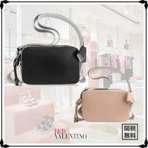 RED VALENTINO Plain Leather Elegant Style Shoulder Bags