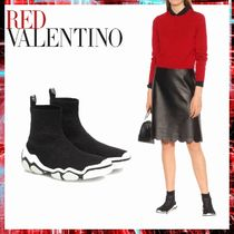 RED VALENTINO Round Toe Casual Style Low-Top Sneakers