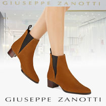 GIUSEPPE ZANOTTI Casual Style Suede Plain Leather Block Heels Chelsea Boots