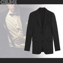 CELINE Other Plaid Patterns Wool Front Button Blazers Jackets