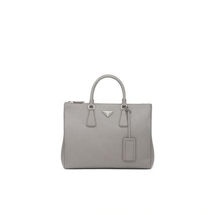 Calfskin Saffiano 2WAY Leather Logo Totes
