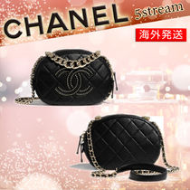 CHANEL Lambskin Studded Chain Elegant Style Logo Camera Bag