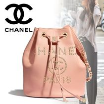 CHANEL Casual Style Calfskin Blended Fabrics Studded Chain Plain