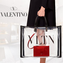 VALENTINO Casual Style Blended Fabrics A4 Logo Totes