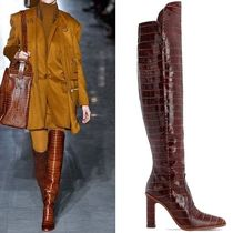 MaxMara Plain Leather Block Heels Elegant Style Over-the-Knee Boots