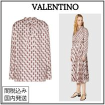 VALENTINO Silk Long Sleeves Party Style Elegant Style