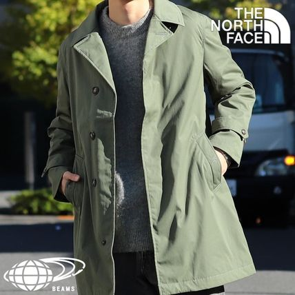 Stand Collar Coats Collaboration Plain Khaki Logo Coats