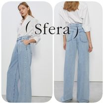 Sfera Casual Style Denim Long Wide Leg Pants