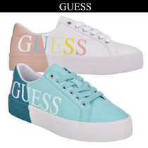 Guess Plain Toe Lace-up Casual Style Low-Top Sneakers