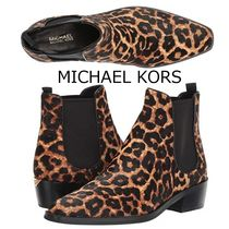 Michael Kors Leopard Patterns Square Toe Casual Style Leather