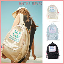 Entre Reves Casual Style Street Style Chain Plain Party Style Backpacks