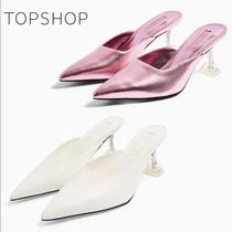 TOPSHOP Casual Style Plain Leather Pin Heels Block Heels Party Style
