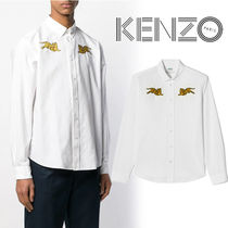 KENZO Button-down Street Style Long Sleeves Other Animal Patterns