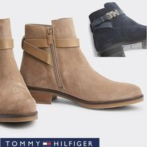 Tommy Hilfiger Platform Round Toe Casual Style Suede Studded Plain Leather