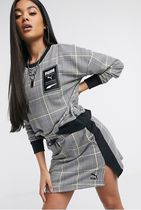 PUMA Other Plaid Patterns Sweat Street Style Long Sleeves Cotton