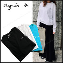 Agnes b Unisex Long Sleeves Plain Cotton Long Sleeve T-shirt Logo