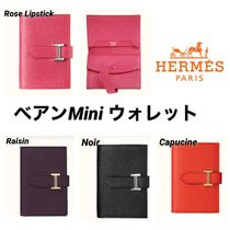 HERMES Bearn Calfskin Leather Folding Wallet Small Wallet Logo