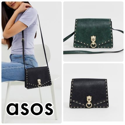 Casual Style Faux Fur Studded Plain Shoulder Bags