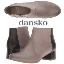 DANSKO Round Toe Rubber Sole Casual Style Bi-color Plain Leather