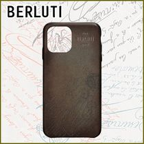 Berluti Unisex Street Style Plain Leather Logo iPhone 11 Pro