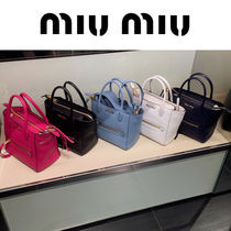 MiuMiu MADRAS 2WAY Plain Leather Elegant Style Crossbody Totes