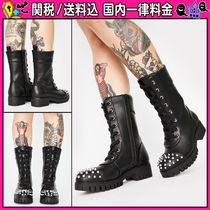 DOLLS KILL Round Toe Lace-up Casual Style Faux Fur Studded Plain