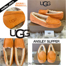 UGG Australia ANSLEY Plain Toe Moccasin Rubber Sole Casual Style Sheepskin Suede