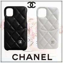 CHANEL Unisex Leather Smart Phone Cases