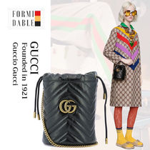 GUCCI GG Marmont Casual Style Street Style 2WAY Plain Leather Party Style