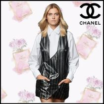 CHANEL Long Sleeves Plain Cotton Party Style Office Style