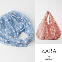 ZARA Flower Patterns Casual Style Totes
