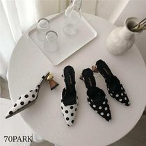 Dots Casual Style Street Style Block Heels Party Style