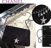 CHANEL Star Suede Blended Fabrics 2WAY Leather Elegant Style