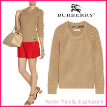 Burberry Crew Neck Casual Style Cashmere Long Sleeves Medium