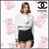 CHANEL Stripes Silk Cotton Party Style Office Style Elegant Style
