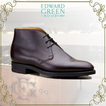 Edward Green Plain Toe Plain Leather Chukkas Boots