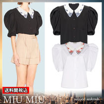 MiuMiu Flower Patterns Casual Style Puffed Sleeves Plain Cotton
