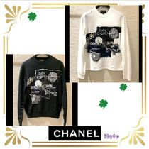 CHANEL Flower Patterns Unisex Long Sleeves Cotton