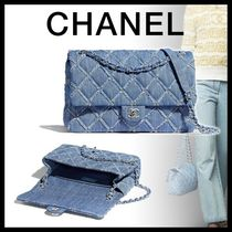 CHANEL Denim Chain Plain Fringes Logo Handbags