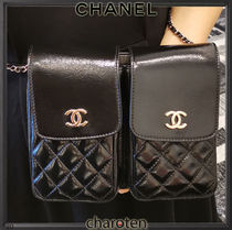 CHANEL ICON Unisex Lambskin 2WAY Chain Plain Leather