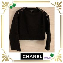 CHANEL Casual Style Studded Street Style Long Sleeves Plain Cotton