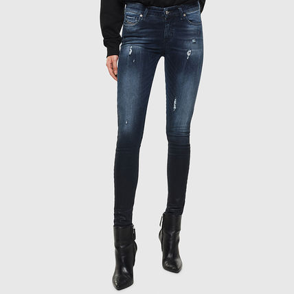 DIESEL Denim Street Style Plain Cotton Long Logo Skinny Jeans