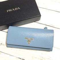 PRADA Plain Leather Logo Long Wallets