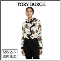 Tory Burch Flower Patterns Silk Long Sleeves Party Style