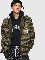 DIESEL Other Check Patterns Camouflage Street Style Long Sleeves