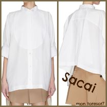 sacai Casual Style Plain Cotton Short Sleeves Puff Sleeves